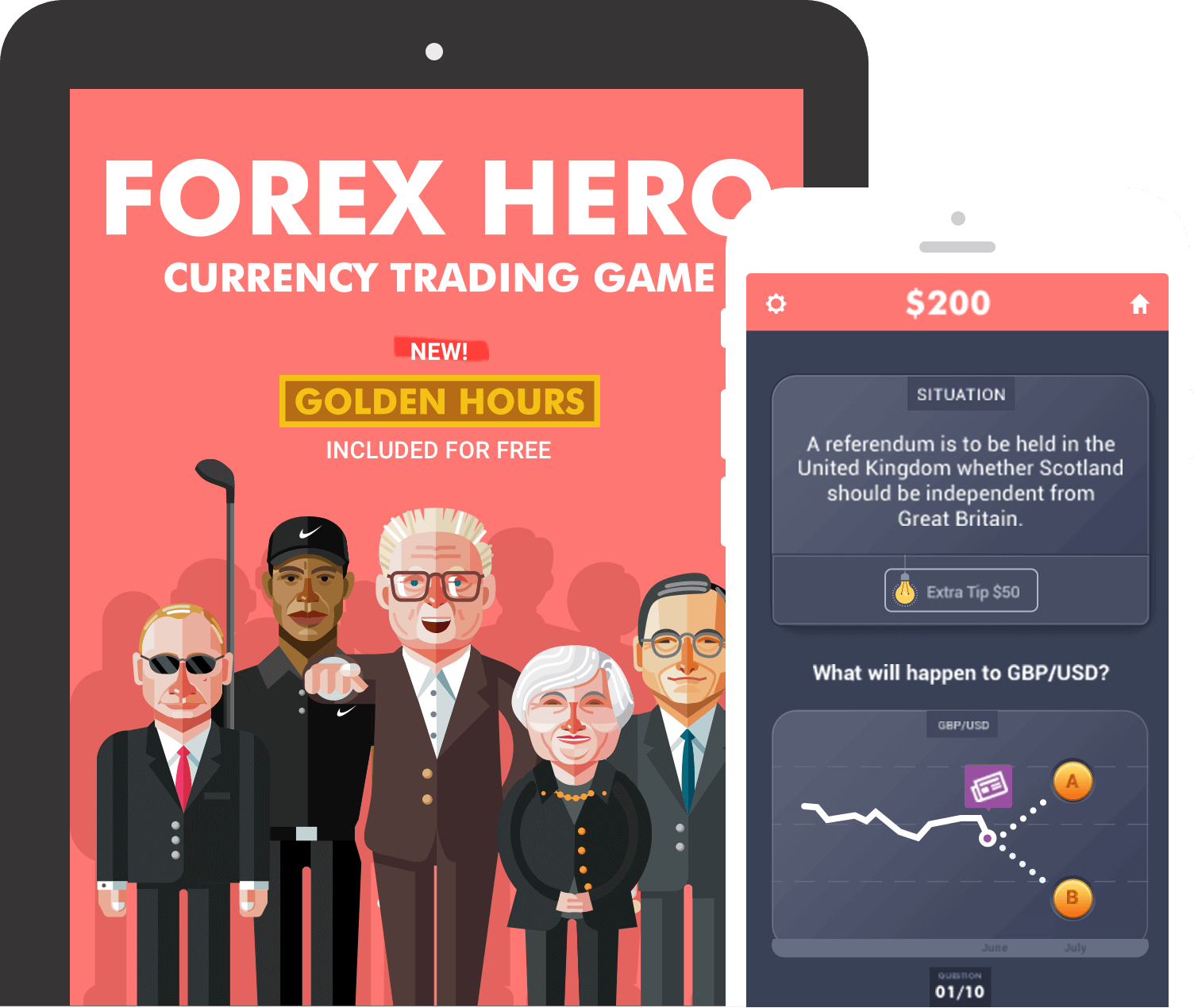 Forex hero trading learning game mobile app screenshots on ipad and mobile phone