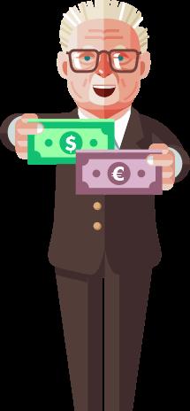 George Soros hält US-Dollar und Euro in den Händen